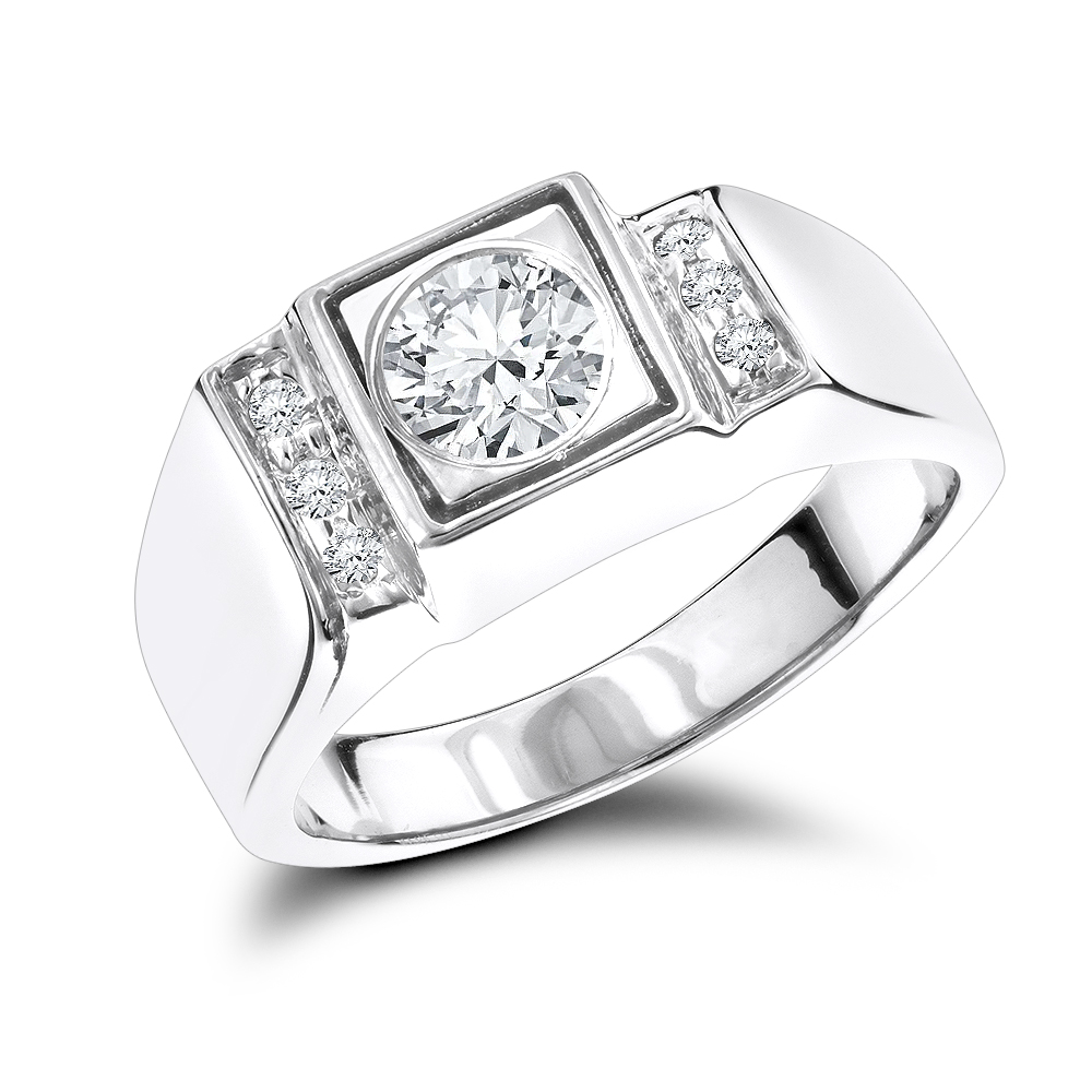 18K Gold One Carat Mens Diamond Engagement Ring Solitaire w Accents White Image
