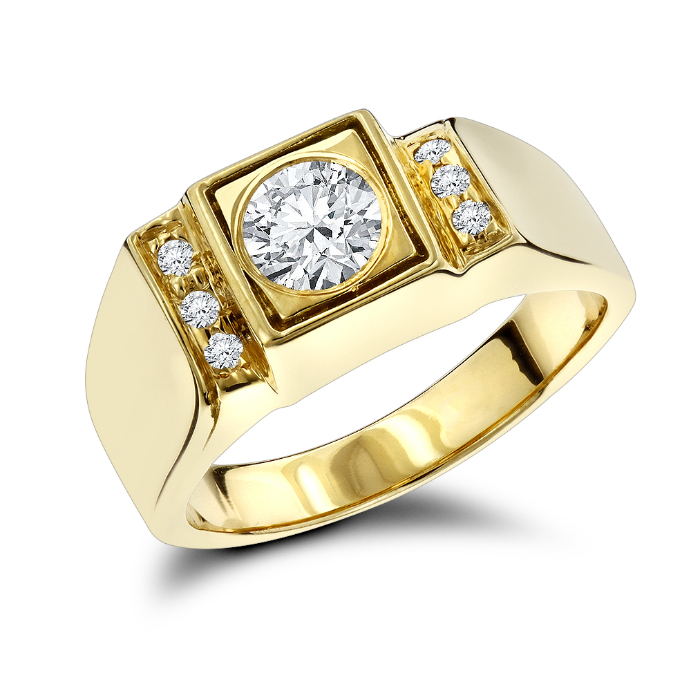 18K Gold One Carat Mens Diamond Engagement Ring Solitaire w Accents