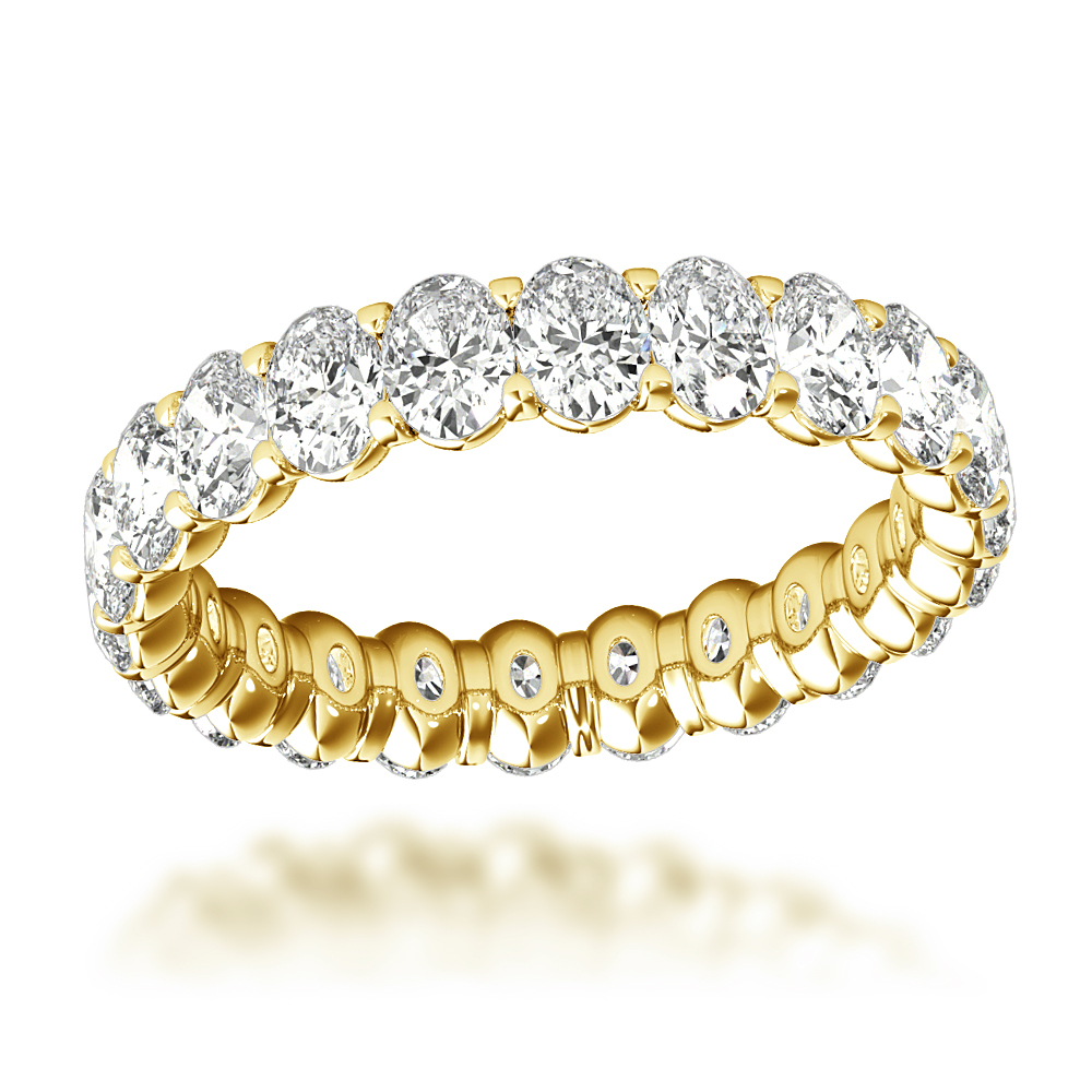 18K Gold Oval Cut Diamond Anniversary Ring Eternity Band for Women 3ct Yellow Image