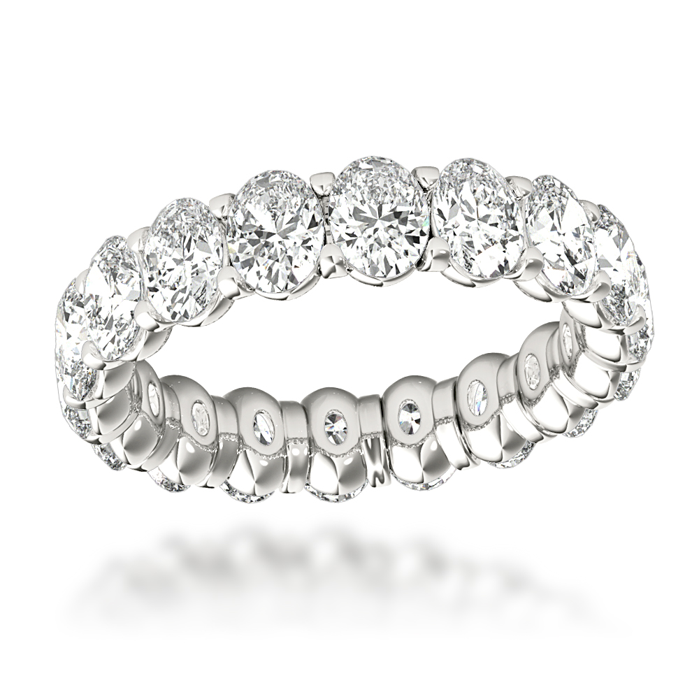 18K Gold Oval Diamond Eternity Ring 4ct G/VS by Luxurman White Image