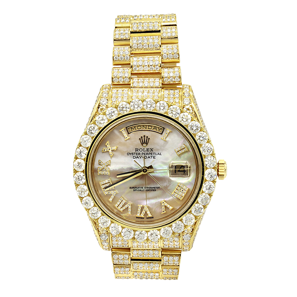 18K Gold Oyster Perpetual Iced Out Rolex Diamond Watch for Men 20ct Main Image