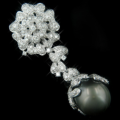 18K White Gold Black Pearl & Diamond Brooches or Pendant Collection Item Main Image
