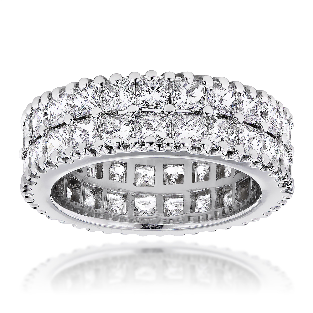 18K Gold Princess Cut Diamond Eternity Band Anniversary Ring 6.52ct VS 18k-gold-princess-cut-diamond-eternity-band-anniversary-ring-652ct-vs_1