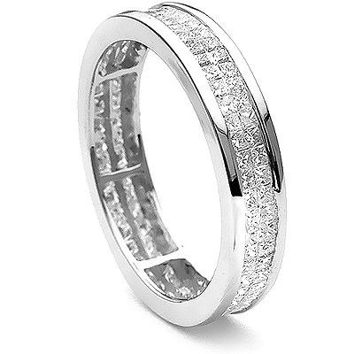 Thin 18K Gold Princess Diamond Eternity Ring 1.38ct Main Image