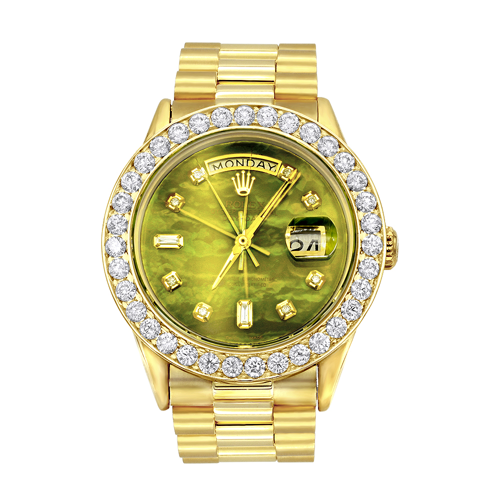 18K Gold Rolex Oyster Perpetual Diamond Watch for Men 3.65ct Green MOP DIal Main Image