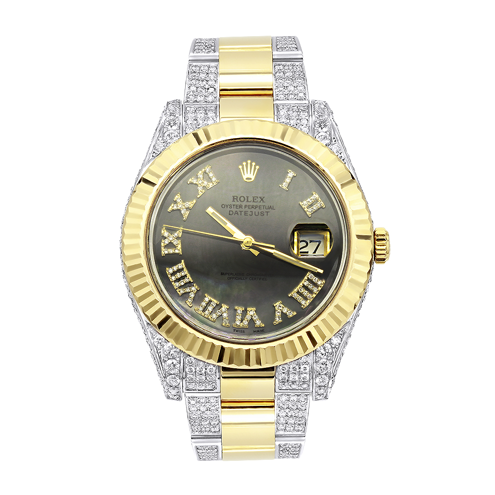 18k Gold Rolex Oyster Perpetual Diamond Watch for Men 7.5ct Two Tone Main Image