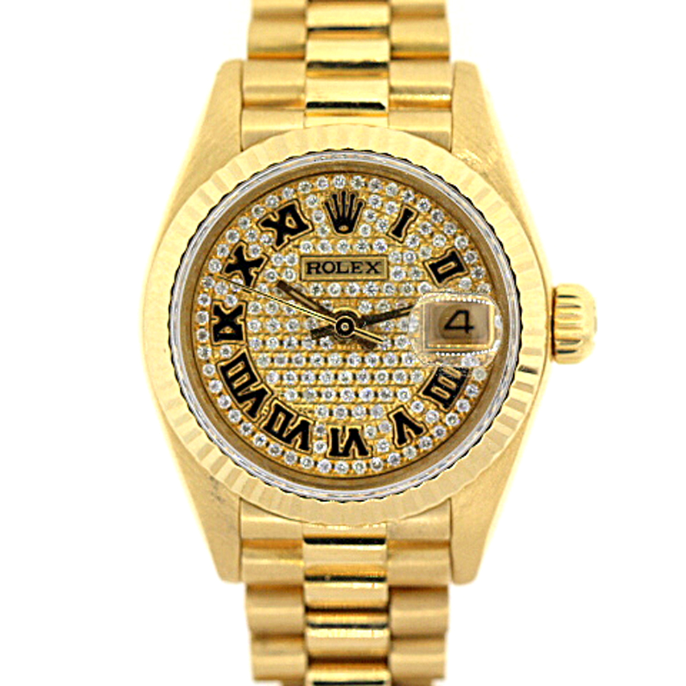 18K Gold Rolex Presidential Datejust Diamond Watch for Women 2ct  Main Image