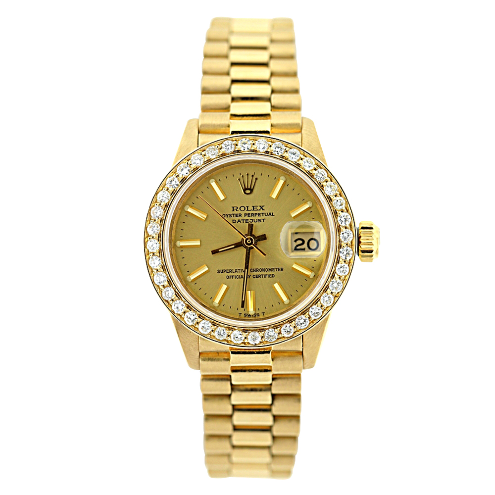 18K Gold Rolex Presidential Datejust Ladies Diamond Watch 1.2ct  Main Image