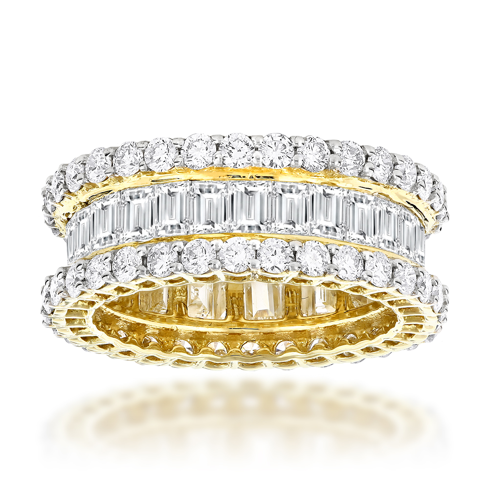 18K Gold Round & Baguette Diamond Eternity Band 6ct Yellow Image