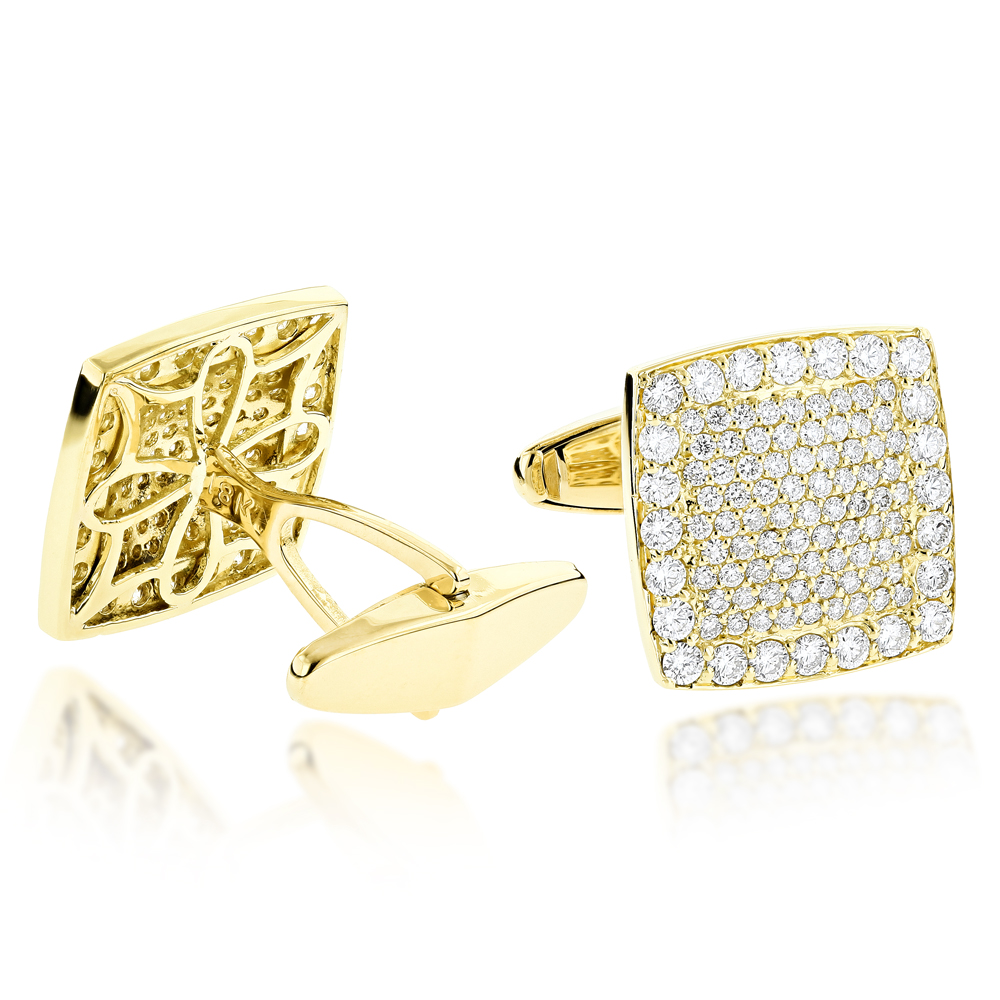 18K Gold & Round Diamond Designer Cufflinks Mens 3.77ct Yellow Image
