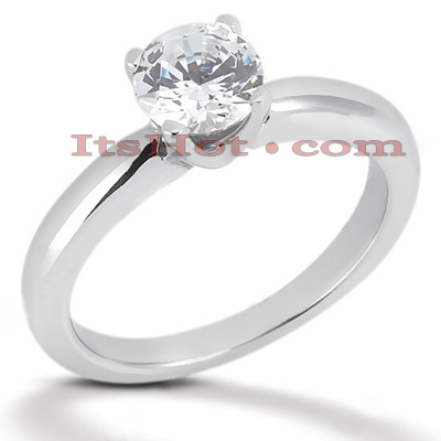 18K Gold Round Diamond Engagement Ring 0.75ct
