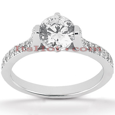 18K Gold Round Diamond Engagement Ring 0.97ct Main Image