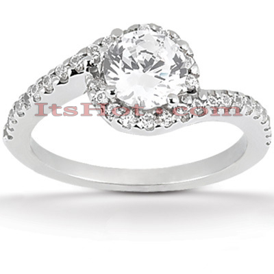 18K Gold Round Diamond Engagement Ring 1.09ct Main Image