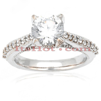 18K Gold Round Diamond Engagement Ring 1.10ct Main Image