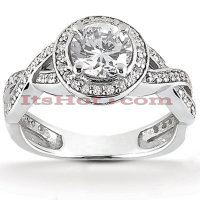 18K Gold Round Diamond Engagement Ring 1.11ct Main Image
