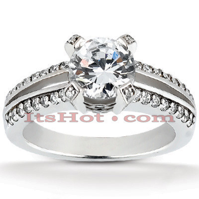 18K Gold Round Diamond Engagement Ring 1.19ct Main Image