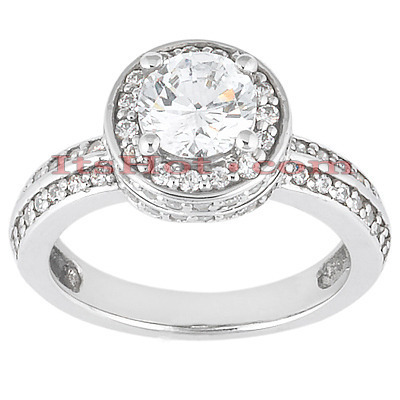 18K Gold Round Diamond Engagement Ring 1.28ct Main Image