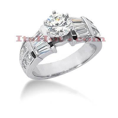 18K Gold Round Diamond Engagement Ring 2.75ct Main Image