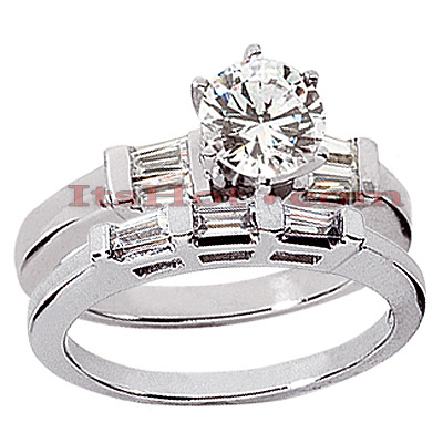 18K Gold Round Diamond Engagement Ring Set 1.24ct