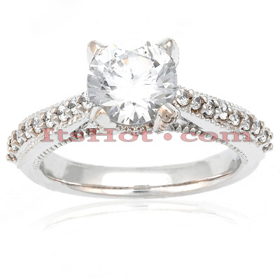 18K Gold Round Diamond Engagement Ring Set 1.40ct Main Image