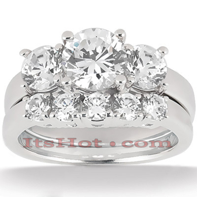 18K Gold Round Diamond Engagement Ring Set 1.95ct