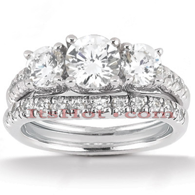 18K Gold Round Diamond Engagement Ring Set 1.95ct Band: 2.60mm, Eng.: 2.8mm Main Image