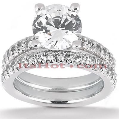 18K Gold Round Diamond Engagement Ring Set 2.40ct Main Image