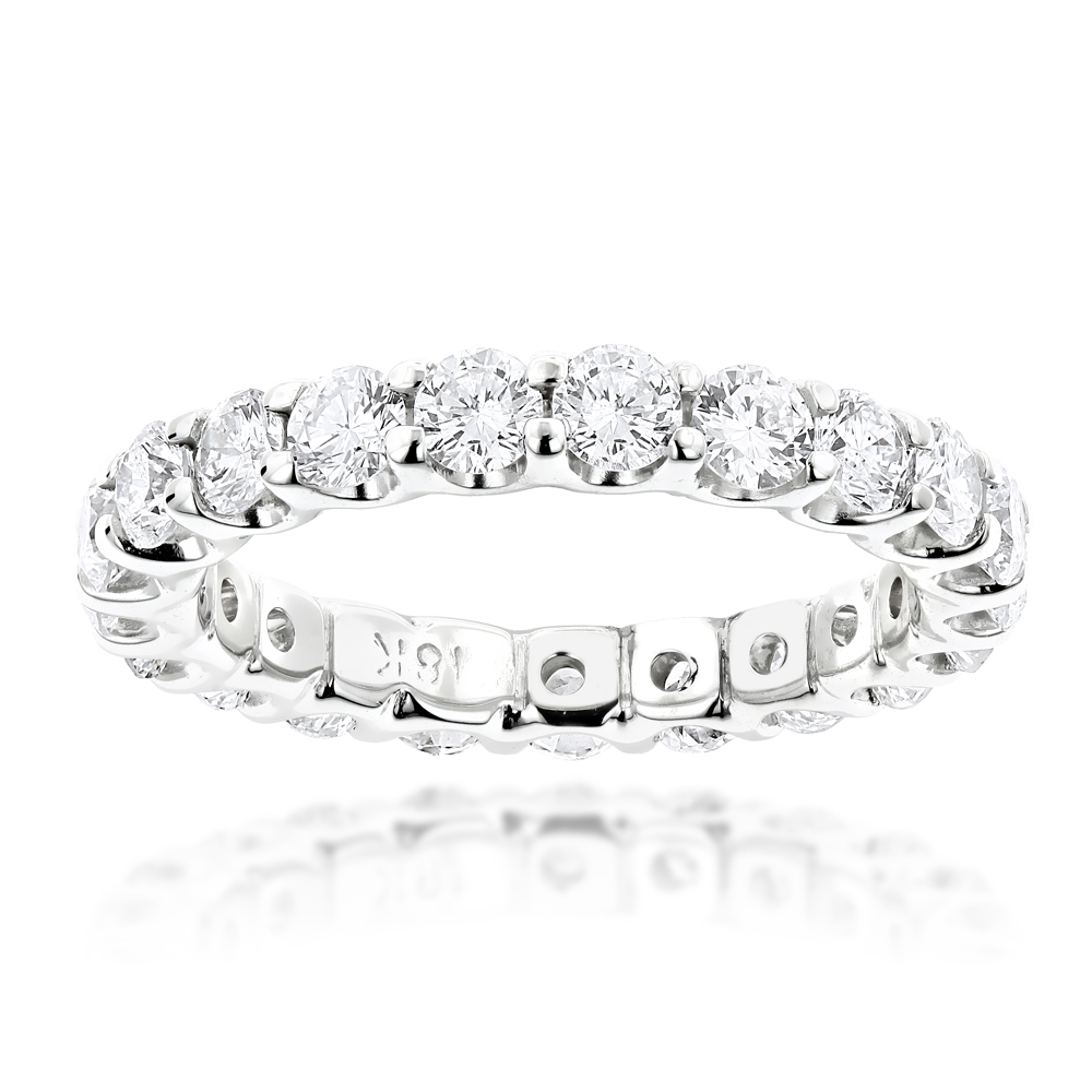 Thin 18K Gold Round Diamond Eternity Band 2.20ct White Image