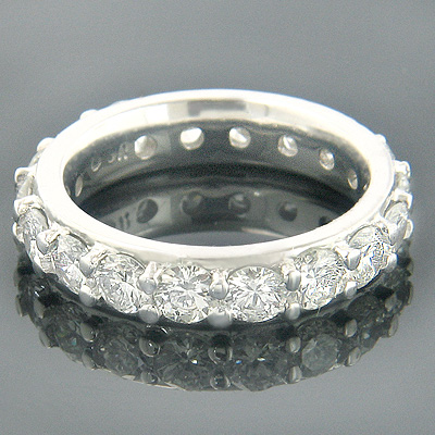 Thin 18K Gold Round Diamond Eternity Band Ring 2.75ct Main Image