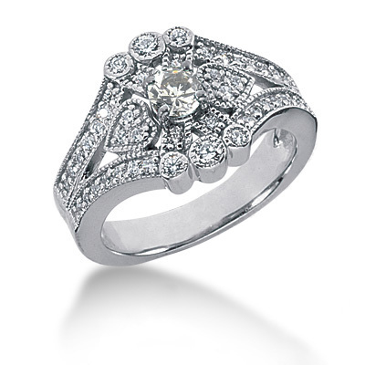 18K Gold Round Diamond Ladies Ring 0.75ct Main Image