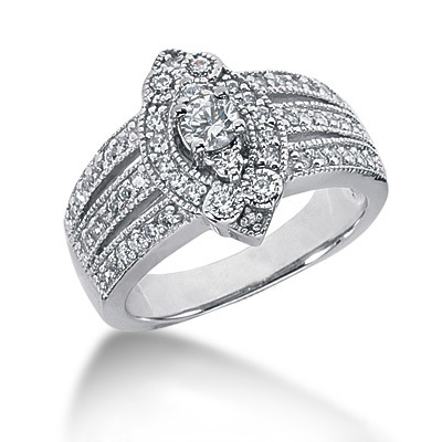 18K Gold Round Diamond Ladies Ring 0.82ct
