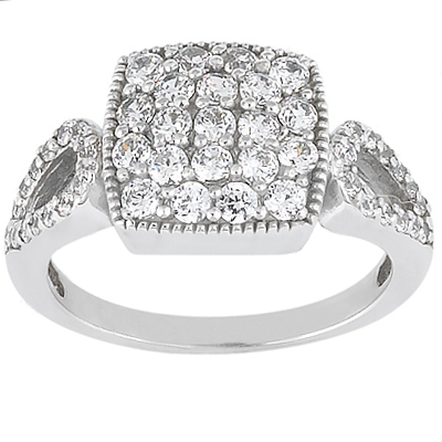 18K Gold Round Diamond Ladies Ring 0.91ct Main Image