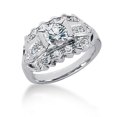 18K Gold Round Diamond Ladies Ring 1.20ct