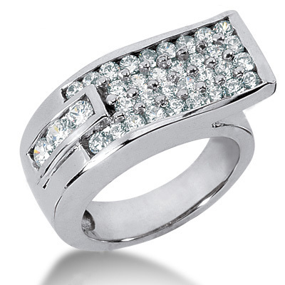 18K Gold Round Diamond Ladies Ring 1.52ct