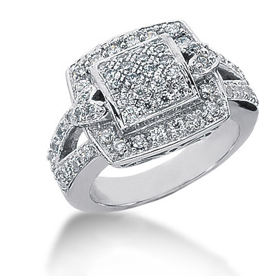18K Gold Round Diamond Ladies Ring 1ct Main Image