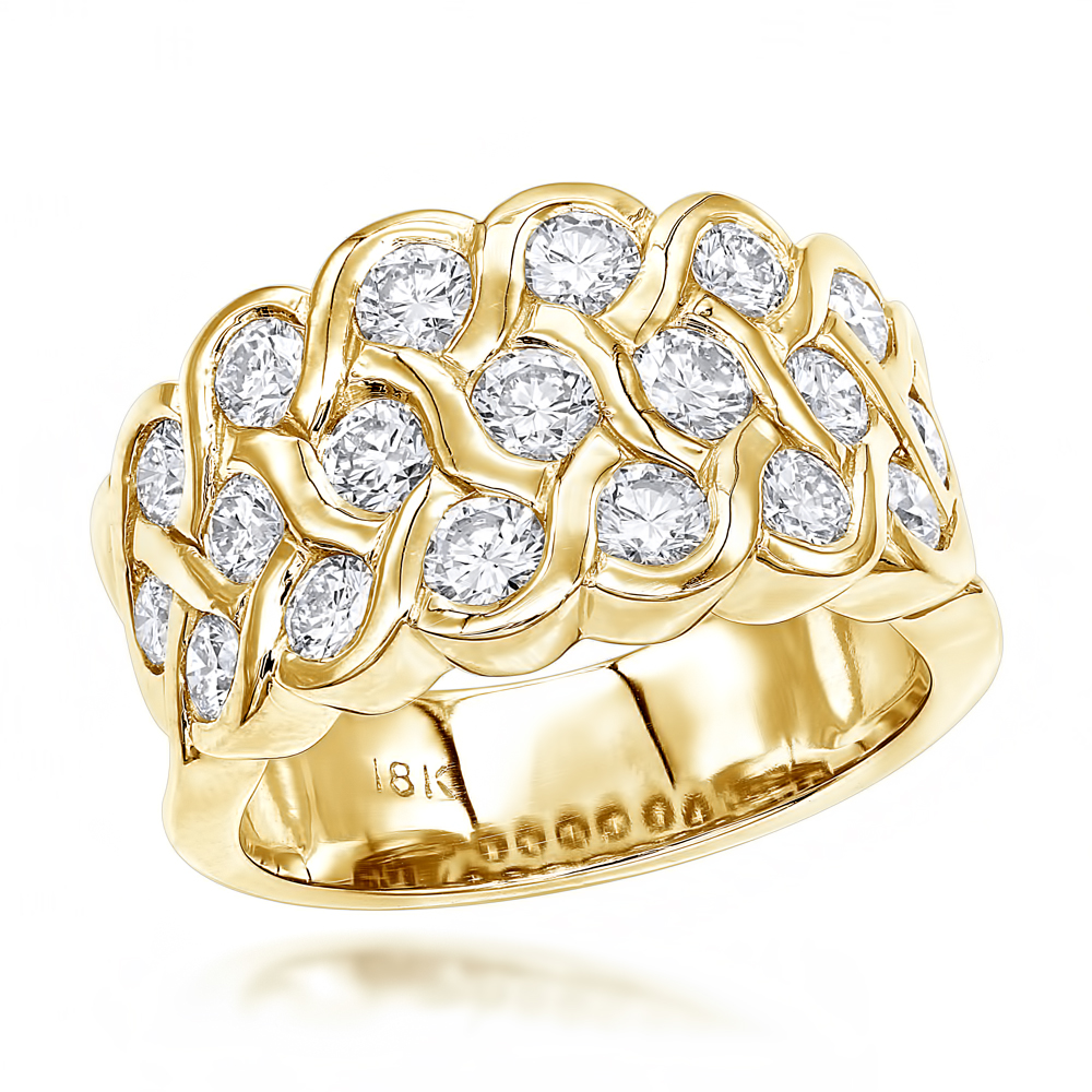 18K Gold Round Diamond Ladies Ring 2.02ct Yellow Image