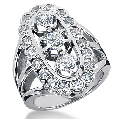 18K Gold Round Diamond Ladies Ring 2.18ct Main Image