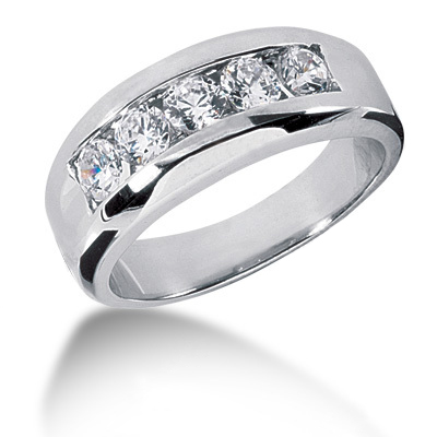 18K Gold Round Diamond Men's Wedding Ring 0.50ct