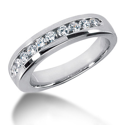 18K Gold Round Diamond Men's Wedding Ring 0.80ct Main Image