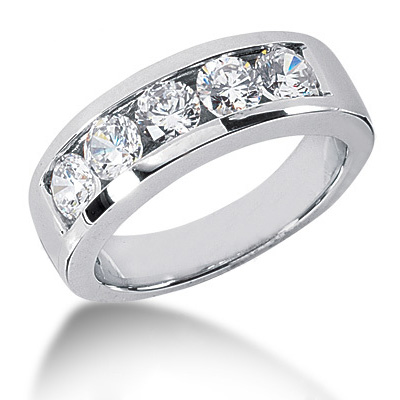 18K Gold Round Diamond Men's Wedding Ring 2ct Main Image