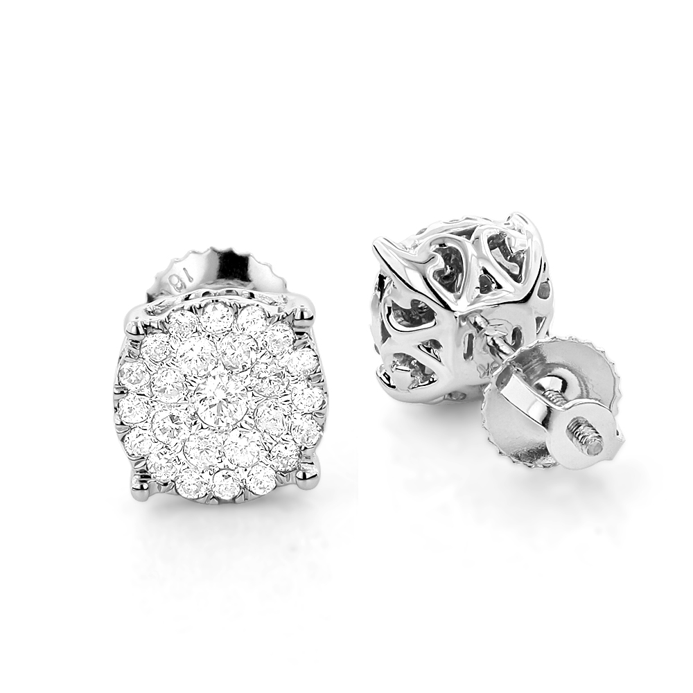 18K Gold Round Diamond Pave Stud Earrings 0.56ct Clusters 2ct Look 18k-gold-round-diamond-pave-stud-earrings-056ct-clusters-2ct-look_1