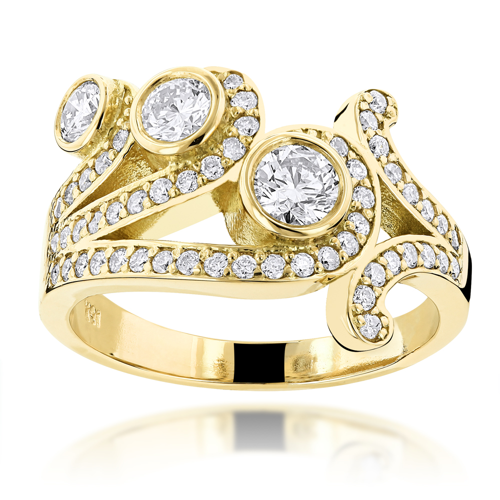 18K Gold Round Diamond Right Hand Womens Ring 1.17ct Yellow Image