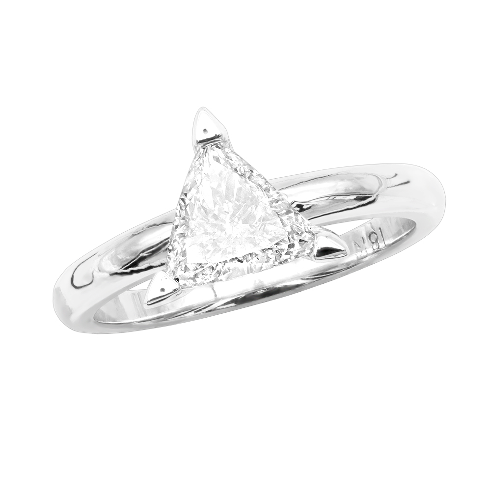18K Gold Solitaire Trillion Diamond Engagement Ring 0.75ct G/VS White Image