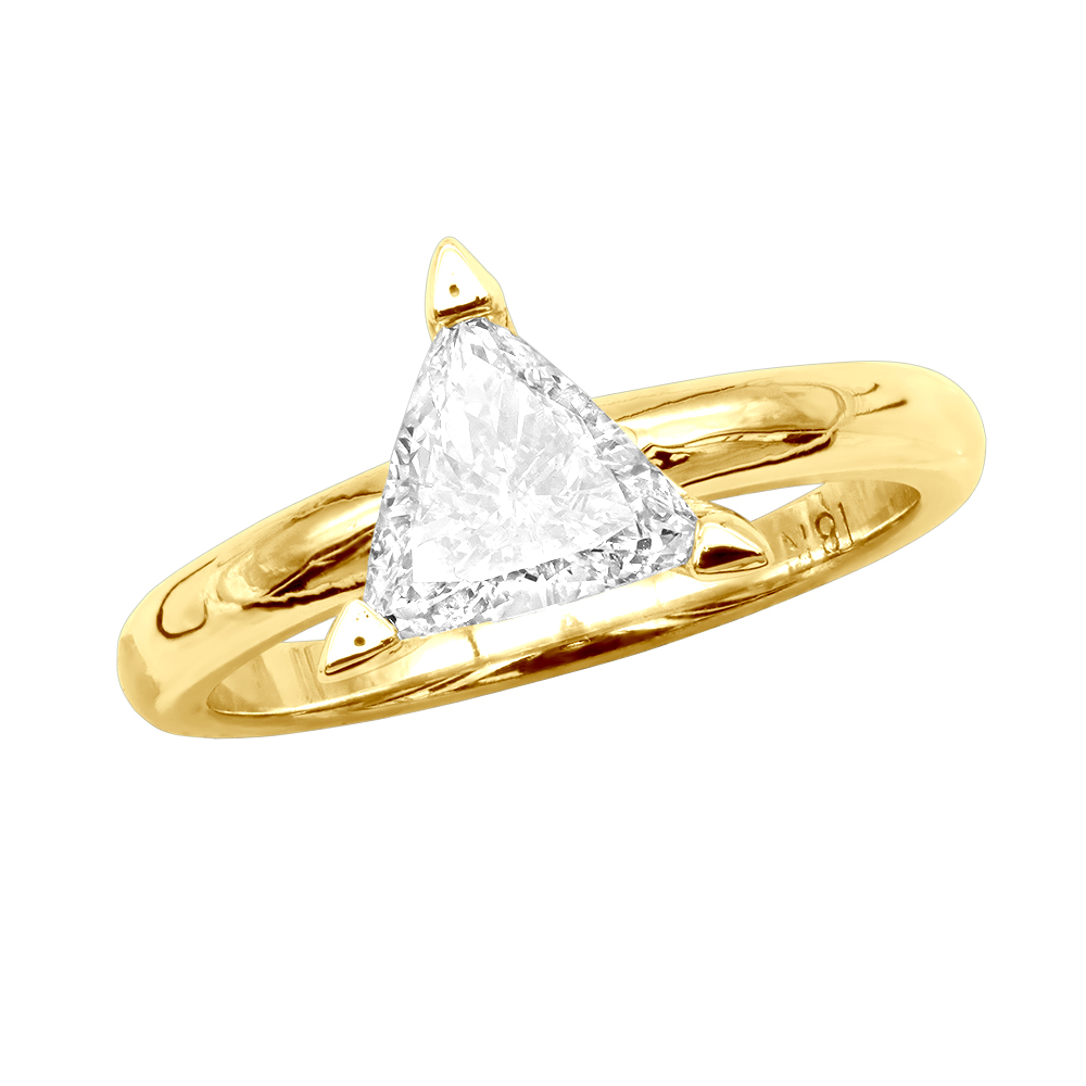 18K Gold Solitaire Trillion Diamond Engagement Ring 0.75ct G/VS Yellow Image