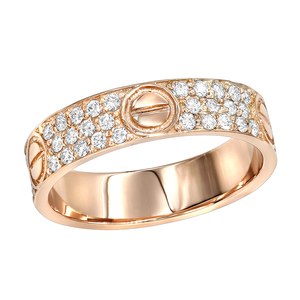 18K Gold Eternity Cartier Style Diamond Wedding Band for Women 1 Carat G/VS Rose Image