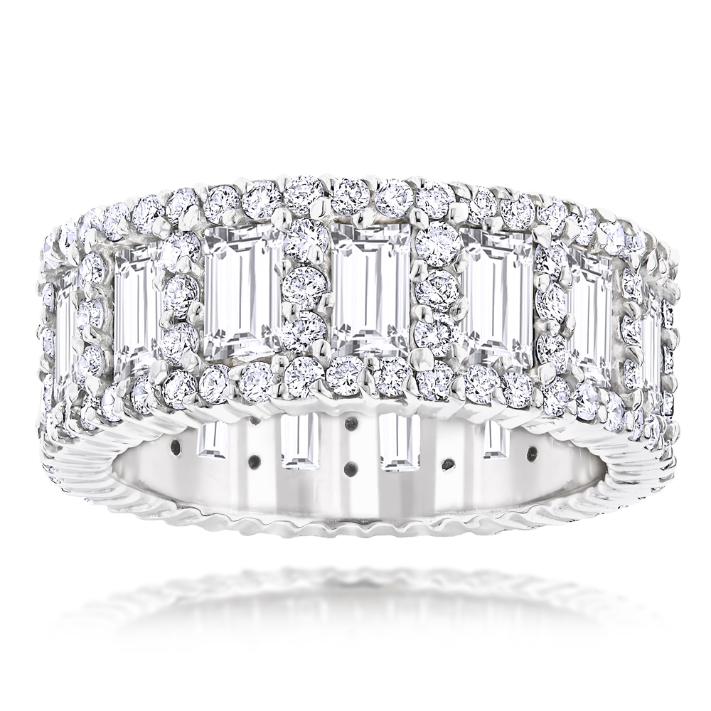 18K Gold Unique Round and Baguette Diamond Eternity Ring 5.66ct White Image