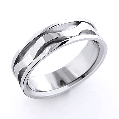 18K Gold Wave Wedding Band for Men Main Image