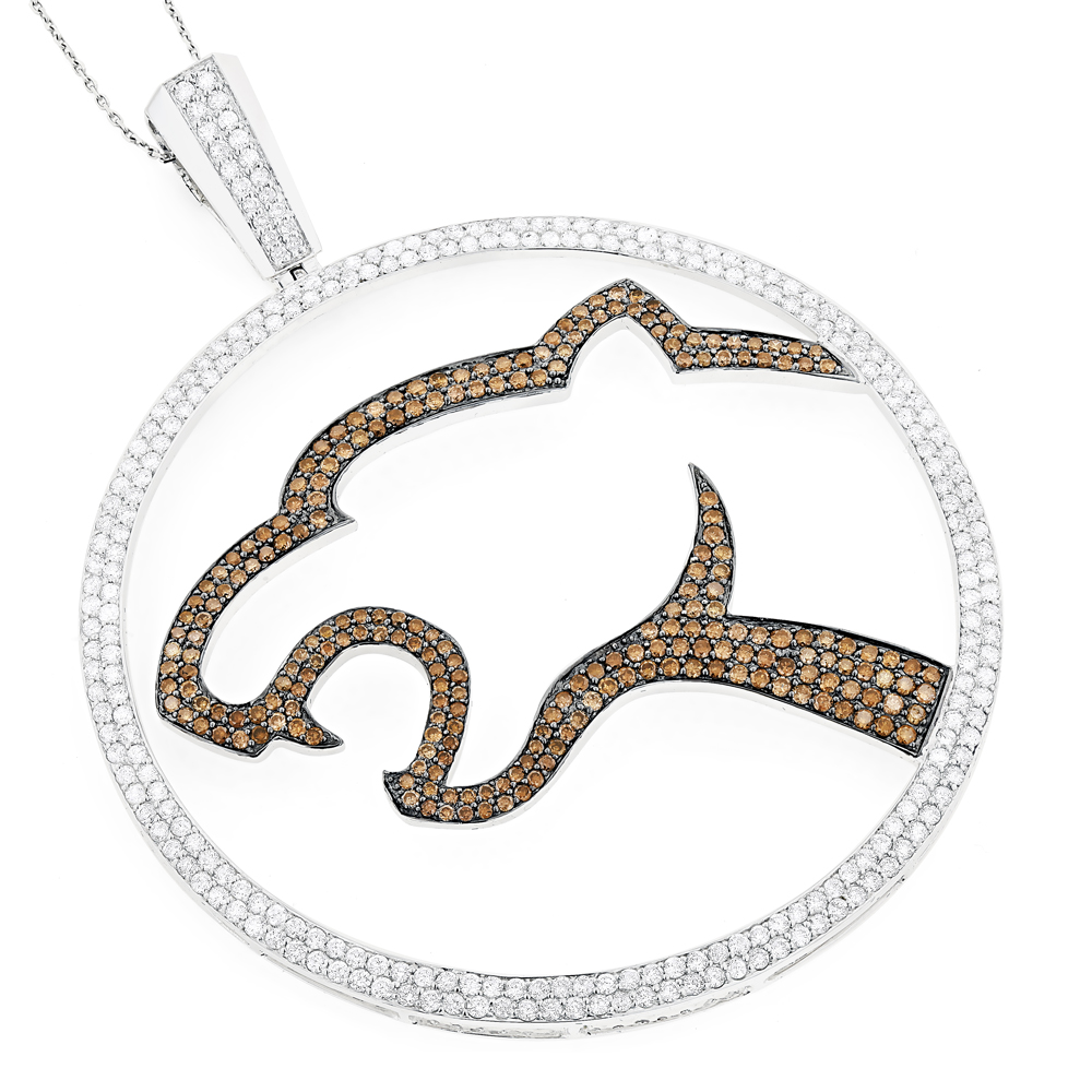 18K Gold White Chocolate Diamond Pendant Leopard 8.36ct