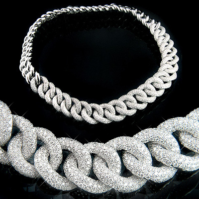 18K Gold Womens Cuban Link Pave Diamond Necklace 22.4