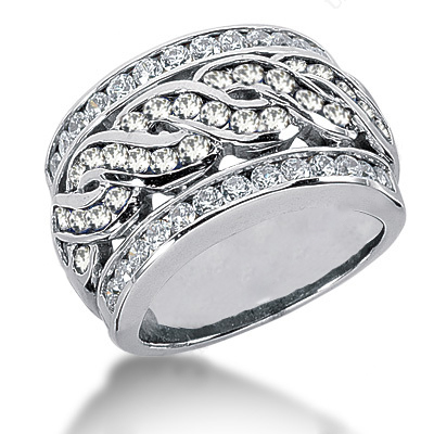18K Gold Women's Diamond Ring 1.65ct
